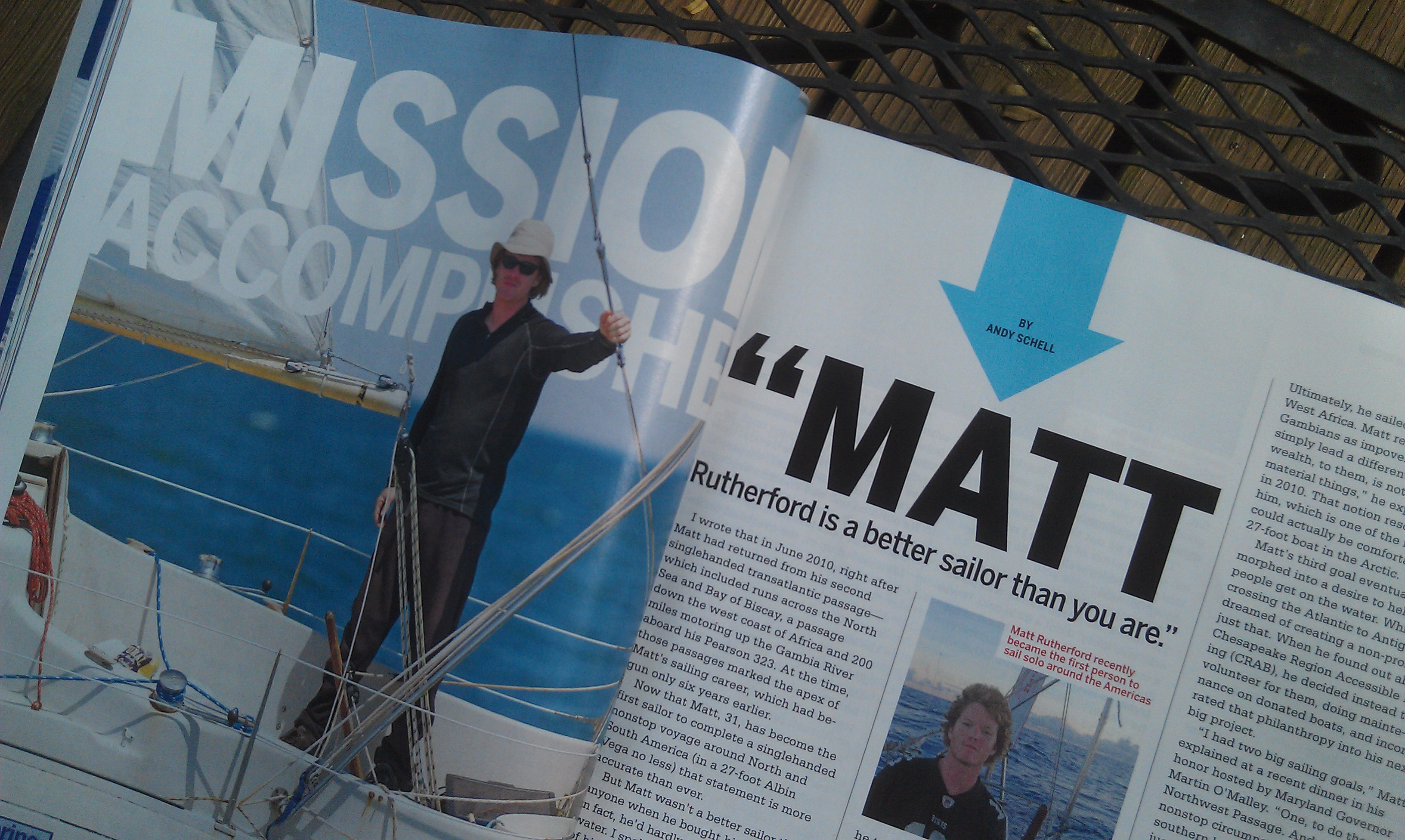 Andy Schell's article about Matt Rutherford's solo, non-stop circumnavigation of the Americas